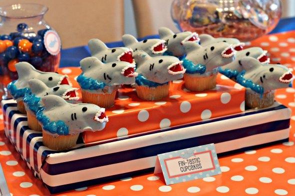shark birthday party cupcakes